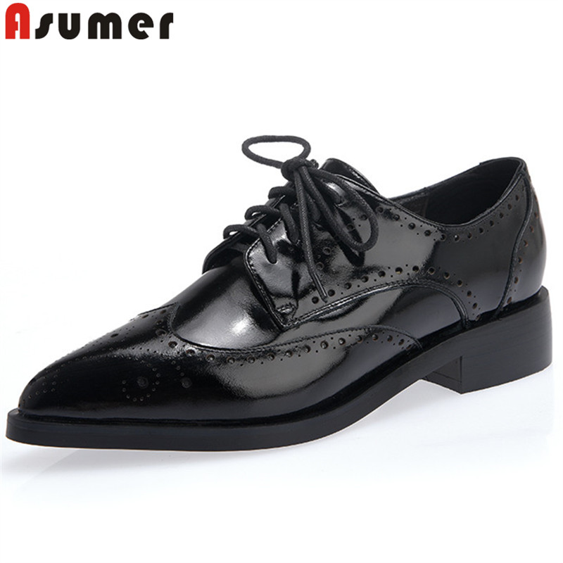 ASUMER 2018 fashion new shoes woman pointed toe lace up genuine leather shoes square heel classic ladies low heels shoes стоимость
