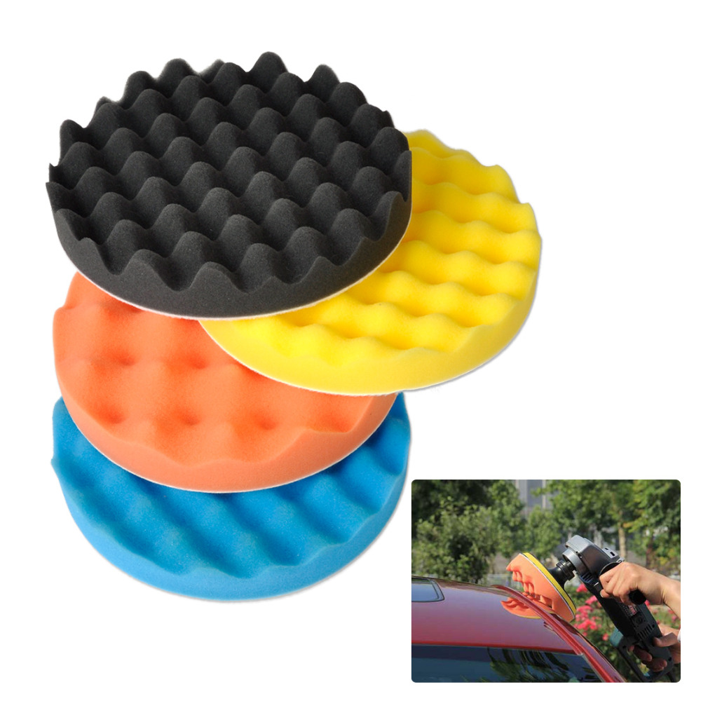 "CITALL 4pcs 7"" Waffle Soft Wave Foam Pad Polishing Buffer"
