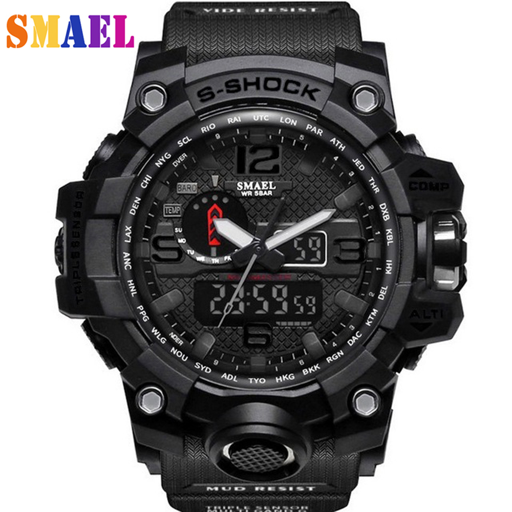 SMAEL Multi-function Electronic Mens Watch G Sport Military S Shock LED Digital Wrist Watches For Men Reloj Hombre Saat Erkekler
