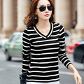 Ropa Kawaii Clothes Casual T Shirt Women Winter T-Shirt Stripe Tee Shirt Femme 2017 Womens Cotton Long Sleeve Tshirt Plus Size
