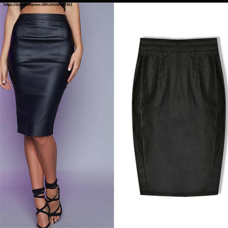 b88a2b83e7911 Punk Women Black Back Slit high waist wrap skirt Locomotive skirts womens  Coated Imitation leather denim Skirt plus size 2616