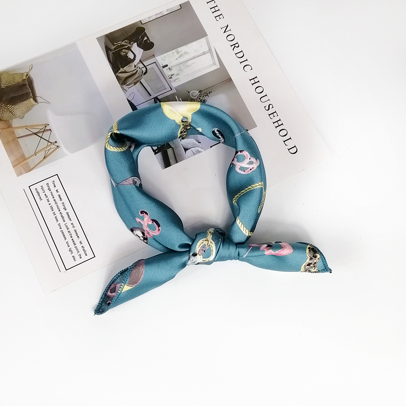 HTB1Tb3ieR1D3KVjSZFyq6zuFpXaT - new style Square Scarf Hair Tie Band For Business Party Women Elegant Small Vintage Skinny Retro Head Neck Silk Satin Scarf