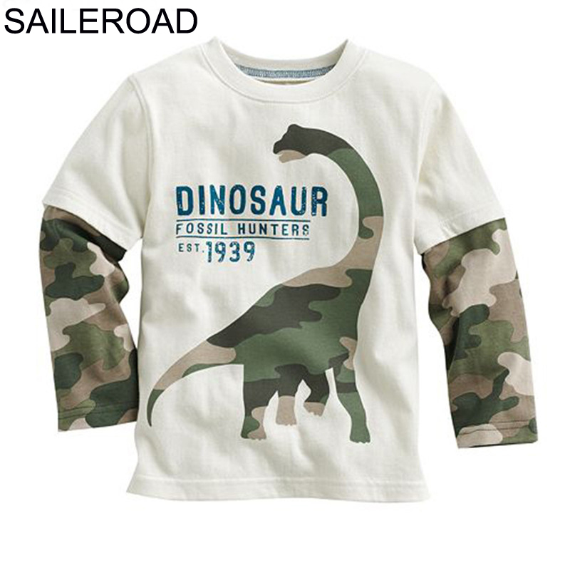 SAILEROAD dinosaurio de dibujos animados niños de manga larga Camiseta para 2-8Years de algodón niños Tops Camisetas Camiseta de primavera otoño