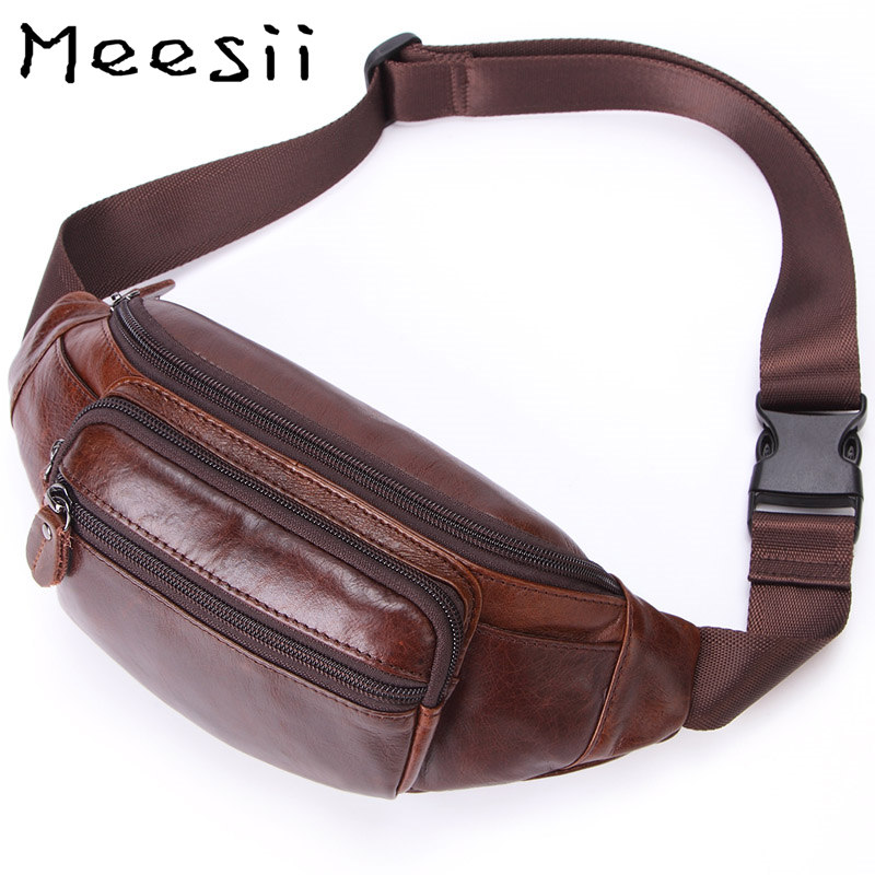 Meesii Genuine Leather Waist Bag Men Pack Small Chest Money Fashion Travel belt Mobile Phone Soft Fanny