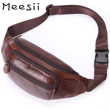 Meesii Genuine Leather Waist Bag Men Waist Pack Small Chest Bag Pack Money Fashion Travel belt Mobile Phone Bag Soft Fanny Pack