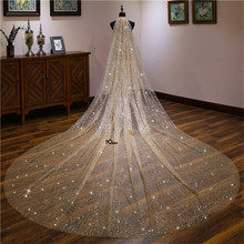 Wedding Veils 3 Meters Bridal Headdress Stick Crystal Lace Starry Sky Pattern Cathedral Bridal Veils Wedding Photo Accessories