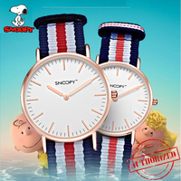 Top Brand SNOOPY Classic Striped Nylon Strap Unisex Watches Women Watches Casual Concise Men Watch Reloj Mujer Clock DW Watches