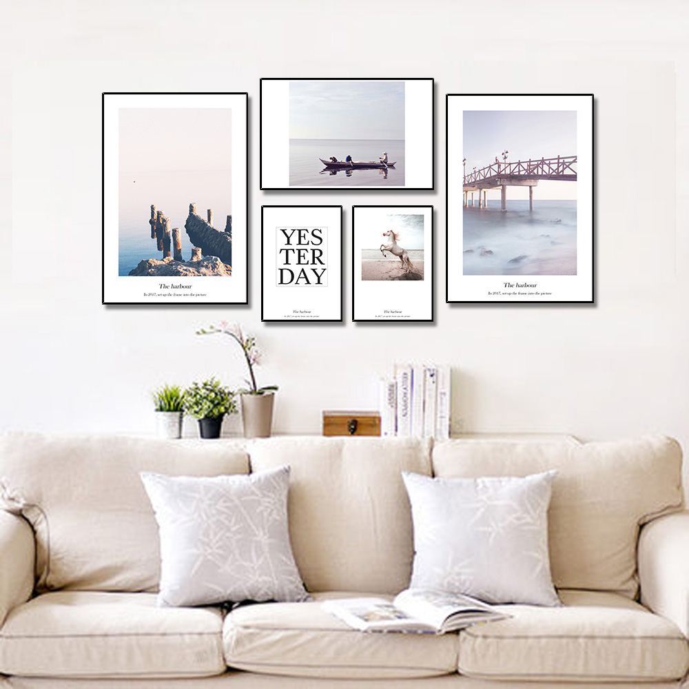 Unframed Pieces HD Canvas Painting Nordic Boat Seascape Horse Text For Decorative Paintings For Living Room Mural Free Shipping