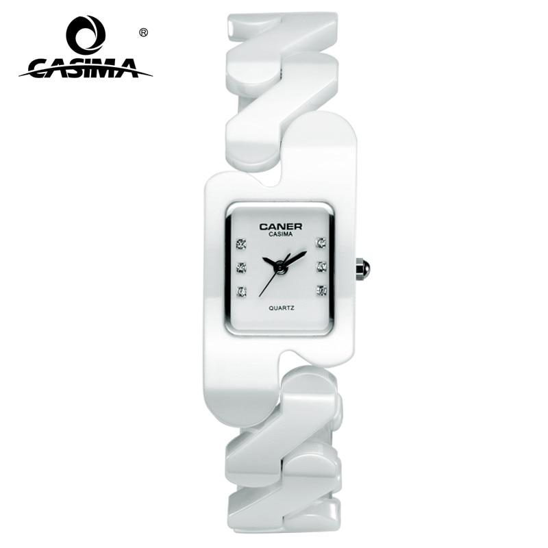 Luxury brand Women watches fashion casual elegant rectangle ceramic White quartz wrist watch Women Waterproof 100m CASIMA #6703 цены онлайн