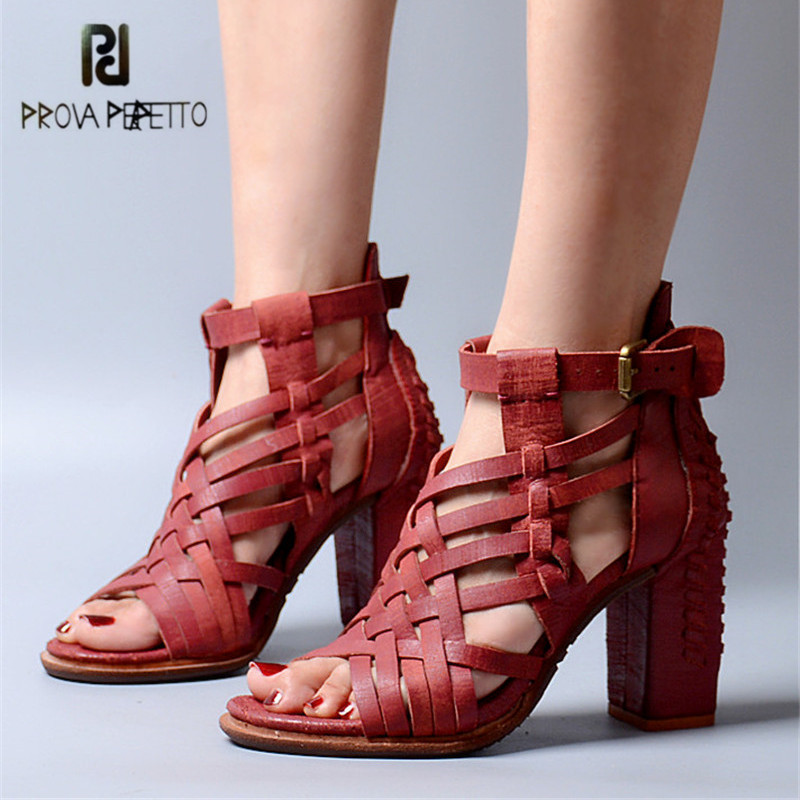 Prova Perfetto Weave Hollow Out Summer Women Sandals Chunky High Heel Shoes Woman Peep Toe Genuine Leather Gladiator Sandal prova perfetto hollow out ladies gladiator sandals women platform pumps rivets chunky high heel shoes woman sandalias mujer