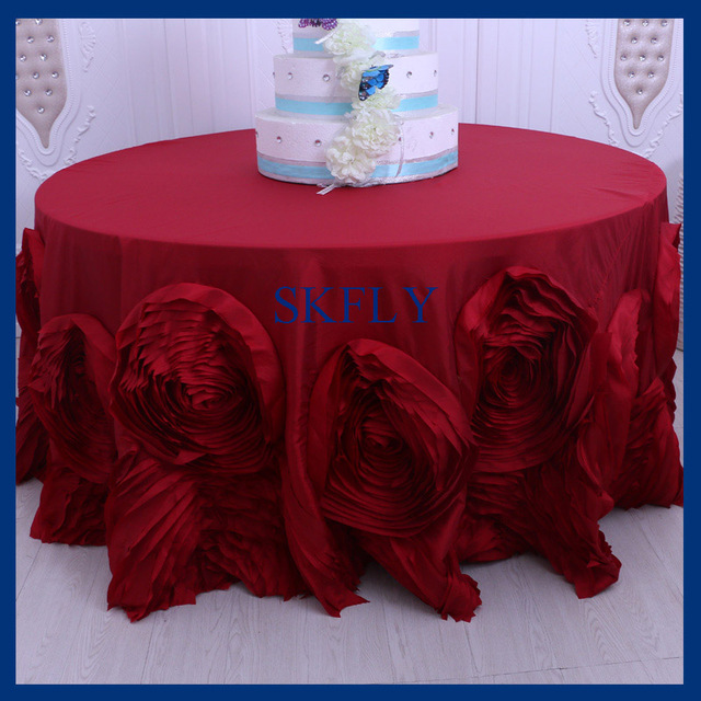 CL052A1 Popular Fancy Wedding Round Wine Or Dark Red Table Cloth With  Rosette Flower