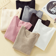 Korean Casual Knitted Sweater for Women striped Women Sweaters and Pullovers Autumnwinter Thin Knit Women Sweater Crop Sweater