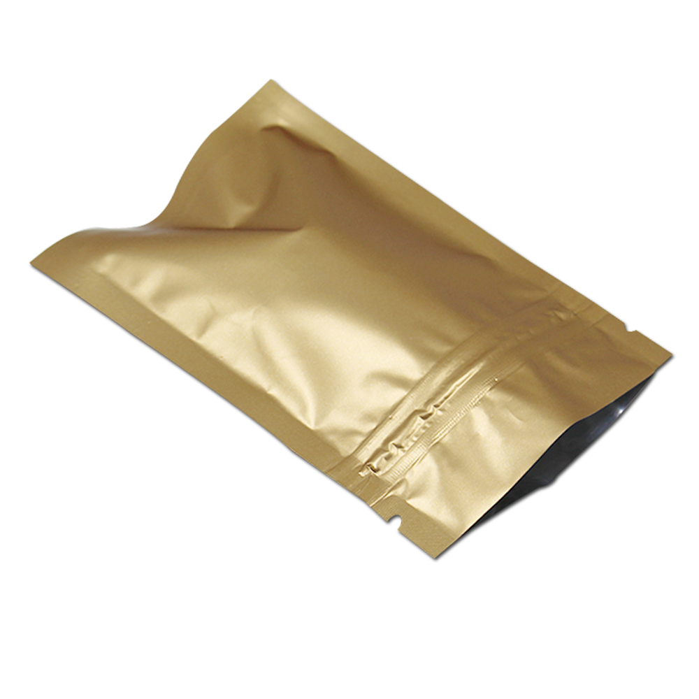 150 stks / partij Matte Gold Mylar Folie Zip Lock Zakken Resealable - Home opslag en organisatie