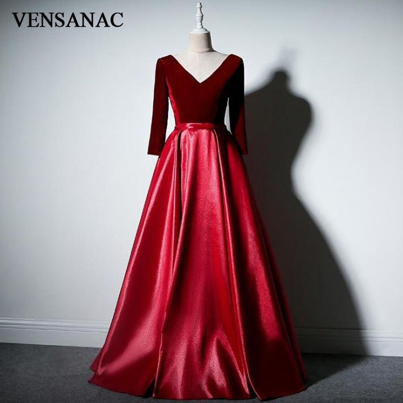 VENSANAC 2018 Velour V Neck Draped A Line Long   Evening     Dresses   Elegant Long Sleeve Party Sash Satin Prom Gowns