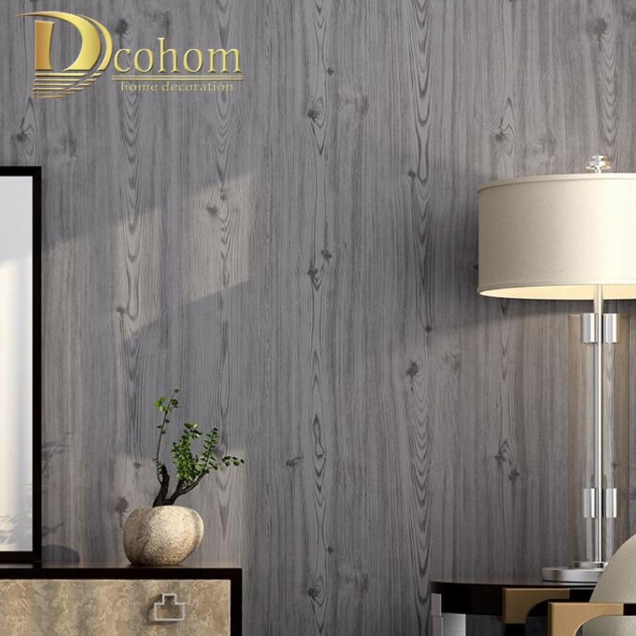 グレー木材厚板穀物壁紙ロール加工木質感壁紙木のボード壁装 壁紙 家の