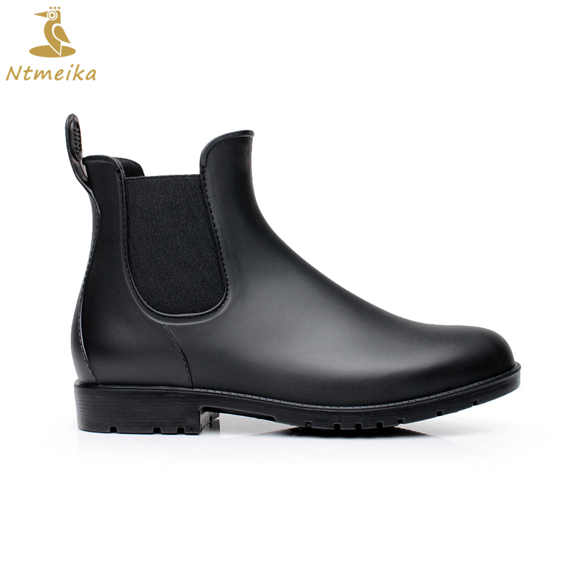 2018 Fashion Waterpoor Mens Rubber Rain Boots Round Toe Black Platform Shoes Ankle Boots For Men Chelsea Boots Botas Hombre
