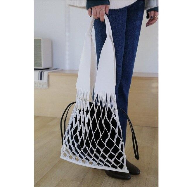 Новый корейский INS сетчатые кожаные сумки ретро Цвет Сумки пакеты ведро для отдыха большой Ёмкость меха Wom композитный мешок