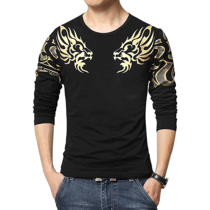 2019 Fashion Spring Autumn Men's Brand T-shirt High Quality Dragon Print Atmosphere Long Sleeve Slim T Shirt For Men Plus Size