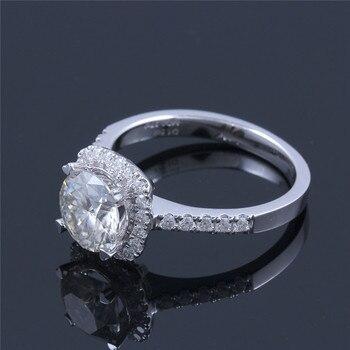 TransGems 14K 585 White Gold 1.5 Carat Diameter 7.5mm Lab Grown Moissanite Diamond Engagement Wedding Ring for Women 4