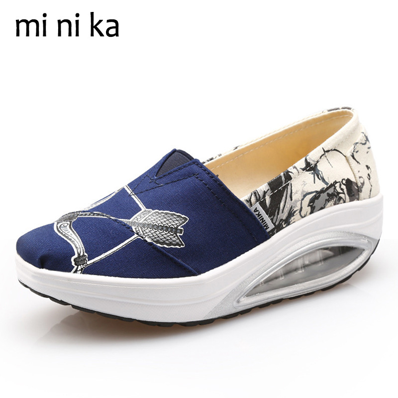 MINIKA Canvas Women Flats Platform Bow&Arrow Women Boat Shoes Casual Slip On Female Summer Height Increasing Swing Shoes SNE-798 minika women shoes summer flats breathable lace loafers platform wedges lose weight creepers platform slip on shoes woman cd41
