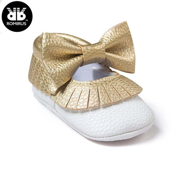 5dc8ad61fd08 Baby Girls Mary Jane Flower Baby Shoes PU Leather Baby Moccasins Gold Bow Girls  First Walker