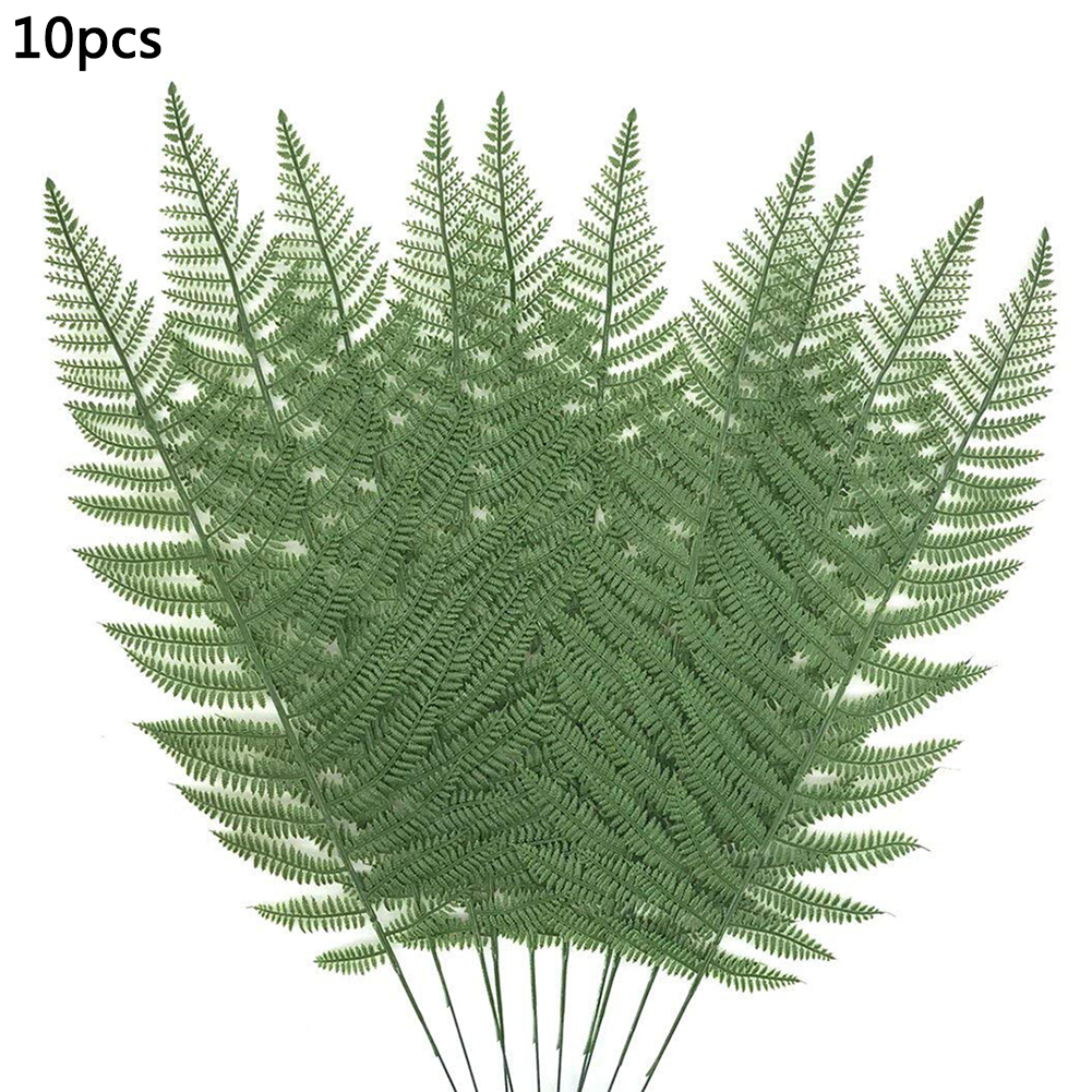 10pcs Large Plastic Artificial Green Loose Tail Leaf Tropical Palm Foliage Leaves Branch Party Wedding Home Garden Decoration