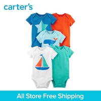 5pcs Cotton Sweet Sailboat Star Whale Prints Bodysuits Sets Carter S Baby Boy Summer Short Sleeve