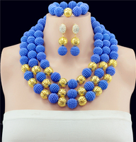 Royal Blue Balls Costume Necklace Bracelet Earrings Set Nigerian Wedding African Beads Bridal Jewelry Sets Free Shipping ABF397