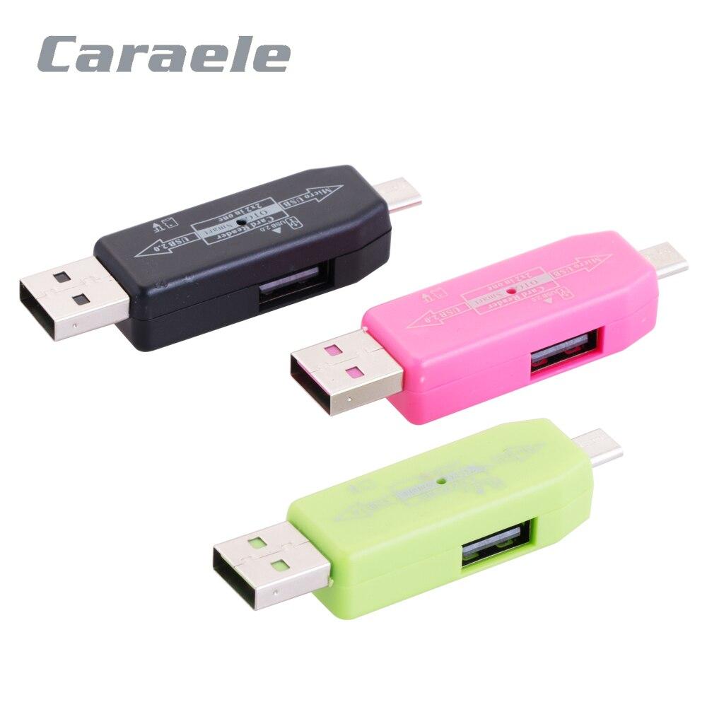 Caraele высокое качество 2 в 1 USB 2.0 OTG картридер адаптер с Micro USB для Micro SD карты памяти TF