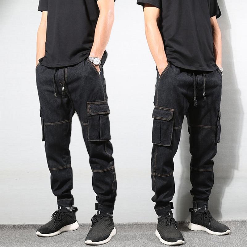 Japanese Style Fashion Mens Jeans Vintage Black Color Loose Fit Cargo Pants Big Pocket Tapered Trousers Hip Hop Jogger Jeans Men