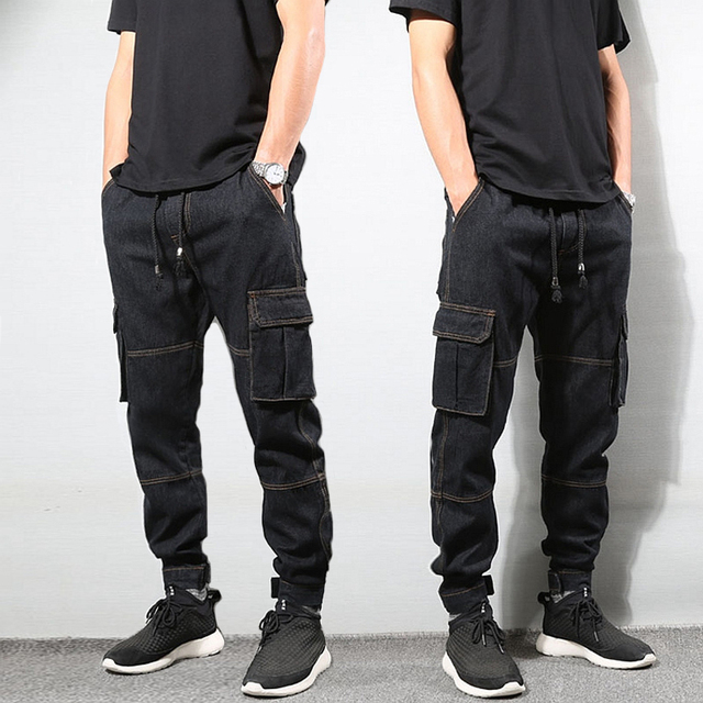 f878861b Japanese Style Fashion Mens Jeans Vintage Black Color Loose Fit Cargo Pants  Big Pocket Tapered Trousers Hip Hop Jogger Jeans Men