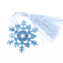 Rushed Real Book Marker Snowflake Bookmarks Wedding Supplies Pendant Gifts Tassel Favors(China)