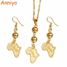 Anniyo Africa Map Jewelry sets Bead Pendant & Earrings,Gold Color African Maps Necklaces Ethiopian/Nigeria/Sudan/Congo #099406