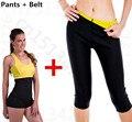 Caliente en la tv de la pierna conjunto de fitness body shapers fit sweat sauna pantalones traje de Adelgazamiento Shaper para las mujeres cintura trainer cinturón de pérdida de peso