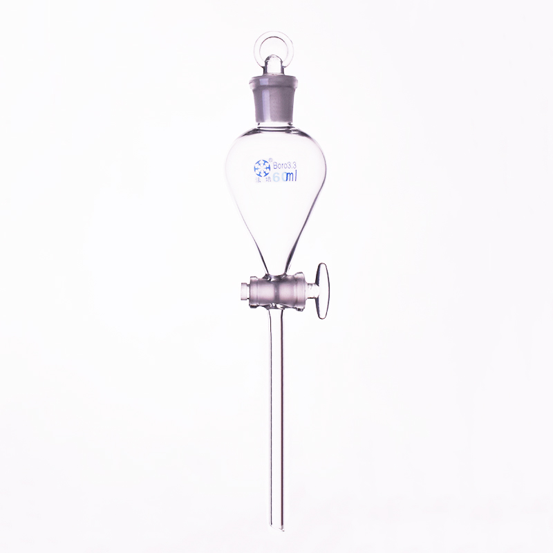 Separatory Funnel Globe Shape,with Ground-in Glass Stopper And Stopcock 60ml,Spherical Separatory Funnel,Glass Switch Valve