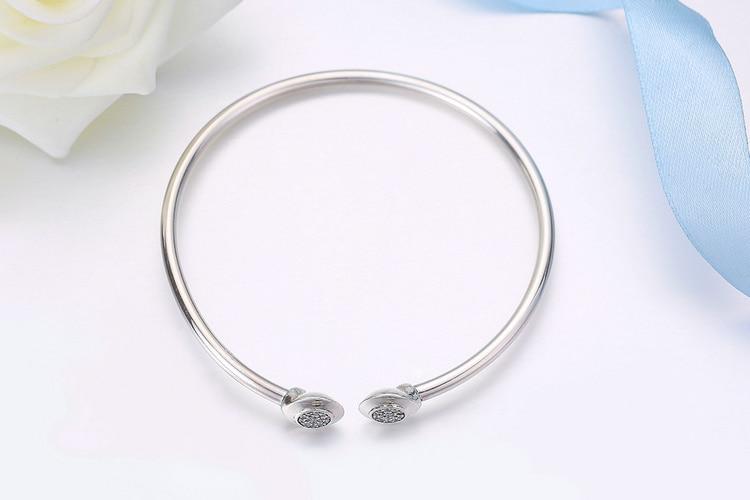 Pulseira 925 Sterling Silver Bracelet Femme Snowflake Heart Blue Eye Femme Snake Chain Bracelets & Bangles Women Jewelry 17