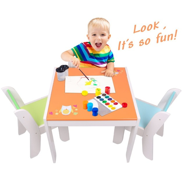 Labebe Wooden Activity Table Chair Set Orange Owl Toddler Table For