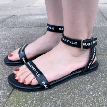 INS Fashion Black Flat Sandals Buckle Ankle Strap Sexy Summer Street Dress Shoes Sandalen Stylish Letter Printed Ladies