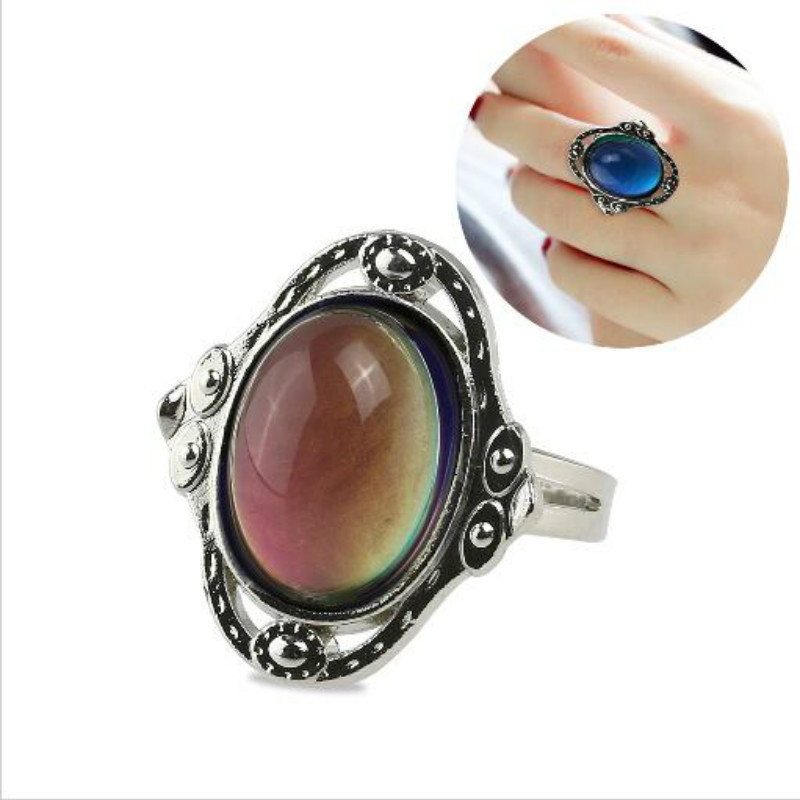 5pcs Vintage Retro Color Change Mood Ring Emotion Changeable Ring