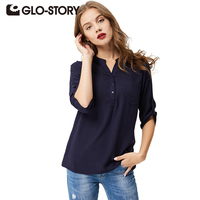 GLO STORY GLO STORY V Neck Chiffon Casual Blouse Long Sleeve Vintage Shirts Loose Classic