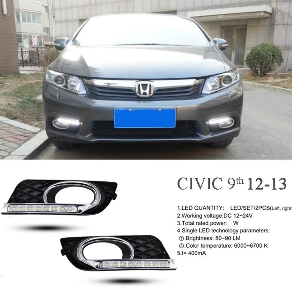 Svítilna ve stylu signálního relé 12V automobilové LED DRL příslušenství pro denní svícení s kryty mlhových světel pro Honda Civic 9. 2012 2013