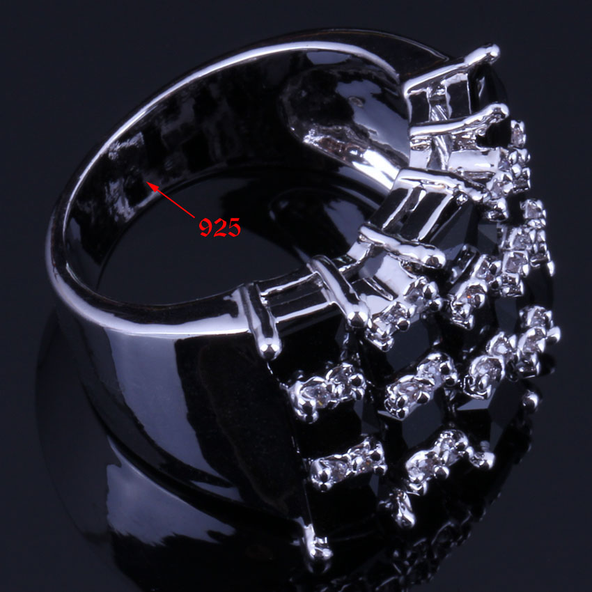 Lovely Square Black Cubic Zirconia White CZ 925 Sterling Silver Ring For Women V0578 in Rings from Jewelry Accessories