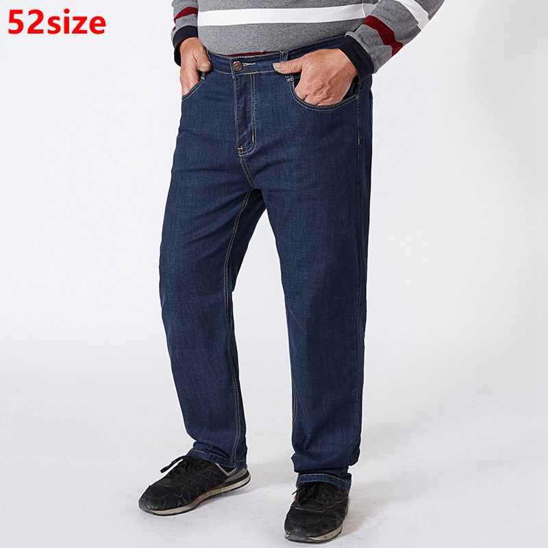 Large Size Men's Jeans Spring And Summer  Men's Pants Middle-aged Large Size Loose Straight Pants Summer High Waist 52 50 48 46