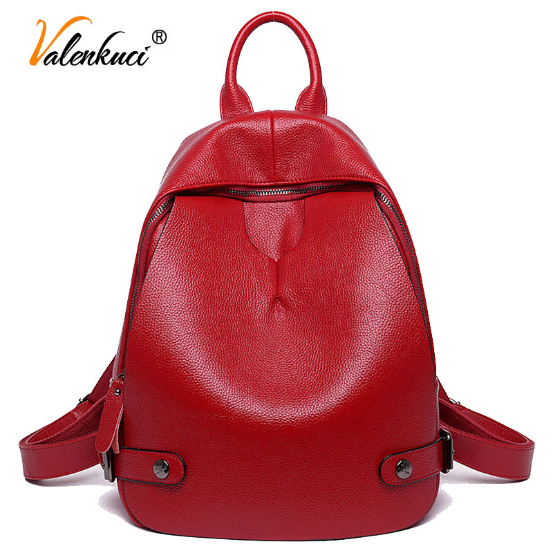 ФОТО Valenkuci summer style 2017 casual leather backpack fashion brand school bags mochila high quality vintage women backpack BD-143