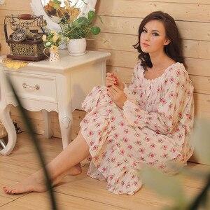 Image 3 - מותג שינה טרקלין נשים הלבשת כותנות לילה כותנה סקסי Robe בית בנות כתנות לילה לבן ארוך בתוספת גודל ארוך שינה