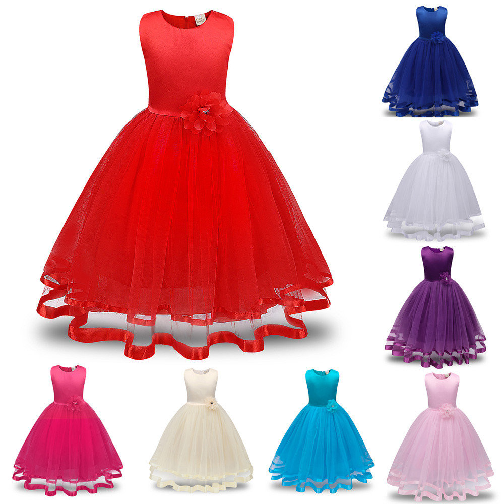 Fashion Lovely Baby Girls Princess Sleeveless Lace Bow Dresses Kids Ball Gown Party Dress Sundress 3 8 Years