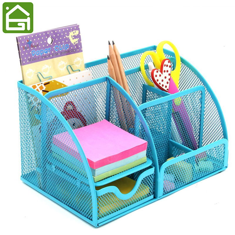 Steel Mesh Wire Desk Organizer Home Office Caddy Storage Box 7 Compartments with a Large Drawer for Stationery
