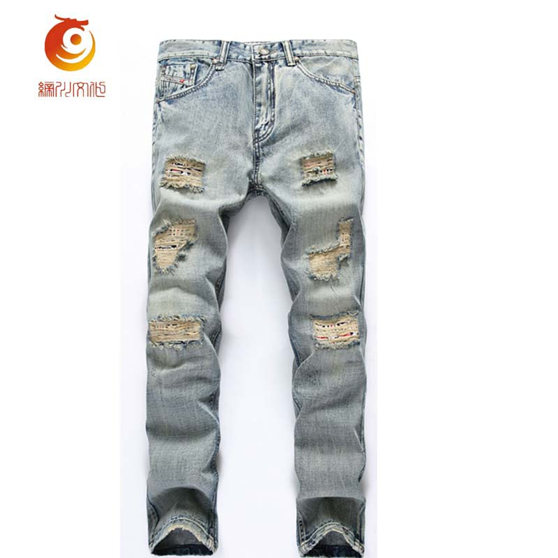 2017 Spring Hole Jeans Men Casual Ripped Jeans Men Hip Hop Denim Pants Straight Slim Jeans Men Denim Trousers Destroyed Jeans