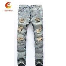 2017 Spring Hole Jeans Men Casual Ripped Jeans Men Hip Hop Denim Pants Straight Slim Jeans Men Denim Trousers Destroyed Jeans