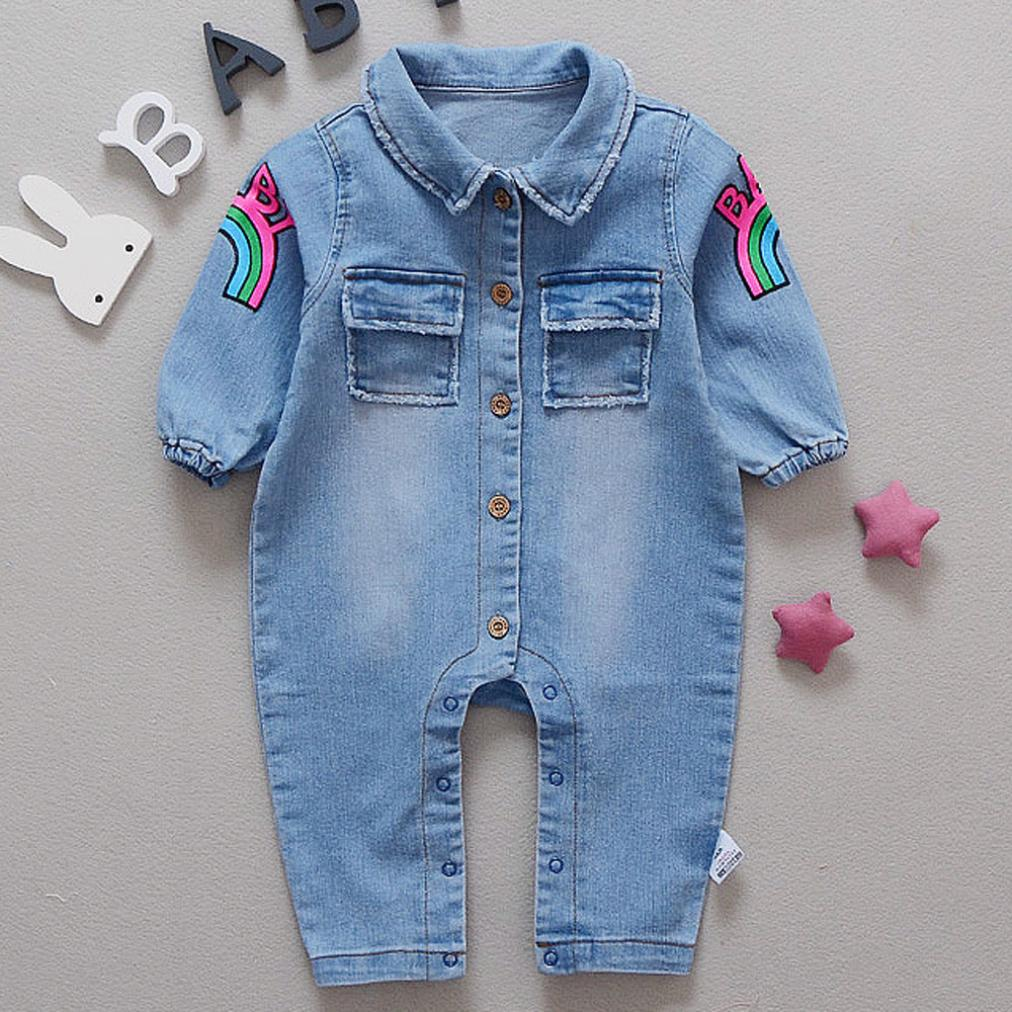 daf3a227f2b1 Arloneet kids clothes Newborn Infant Baby Boy Girl Long Sleeve Demin Romper  Sunsuit Outfits Clothes l0717
